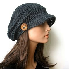 Woodland Slouchy Newsboy Cap in Marble Blue by TheArtofZenCrochet,