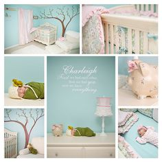 Sky blue walls with cherry blossom tree and pink decor - A's nursery!