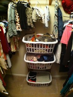Removable and stackable laundry baskets for the walk in closet.. Easy DIY
