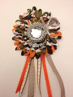 Camo and Orange Baby Shower Corsage or Favor  Its a boy