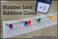 Number Line Math Games. Materials Needed for Number Line Addition and Number Line Subtraction games:   1) A die labeled w/ +1, +2, & +3 each on 2 sides. 2) Counters to move along the game board.  3) The Number Line game boards included in the file. (free download)