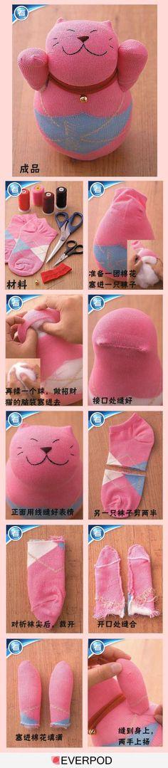 cats, sew, idea, craft, sock doll, socks, sock cat, kitty, diy