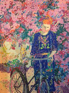 """Ninoska(Spanish painter) """"La chica de la bicicleta"""",cera/papel."""