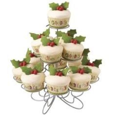 Wilton cake decorating shop - Christmas Cupcakes Decked with Holly