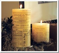 Pottery Barn inspired newsprint candles DIY.
