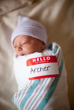 Love this idea! Site full of great ideas. hello my name is baby picture, birth, names, newborn announcement ideas, baby name announcement, announc babi, newborn hospital photo ideas, kid, photographi