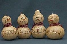 Painted snowmen gourds