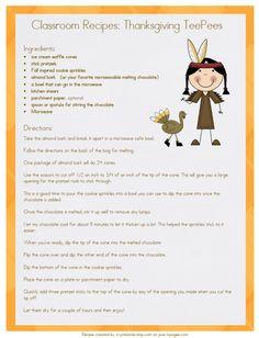 classroom recipes thanksgiving teepee printable