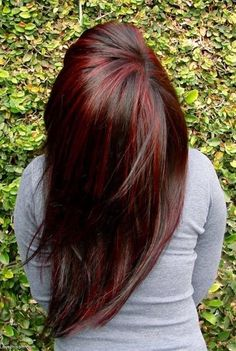 Brunette with Red Highlights (DON'T LIKE THIS) Saving this pick to show them what i don't want !