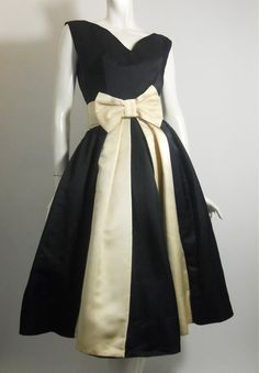 1960s black and cream silk twill party dress w/ bow by Suzy Perette