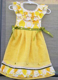 Lemon Yellow Hanging Kitchen Towel  Hand Towel or by WoopsaDaisies