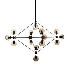 Artfully constructed from carbon steel and glass, this pendant lamp screams industrial-modern style with a retro flair in any indoor setting. Its geometric, multidimensional form elegantly contrasts with its circular bulbs.