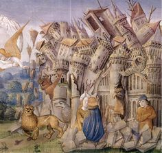 APOCALIPSIS FIGURADO DE LOS DUQUES DE SABOYA (1435-1490) - DESTRUCCION DE UNA CIUDAD POR MONSTRUOS - SIGLO XV. Author: BAPTEUR JEAN / LAMY PERONET / COLOMBE JEAN. Location: MONASTERIO-BIBLIOTECA-COLECCION, SAN LORENZO DEL ESCORIAL, MADRID, SPAIN.