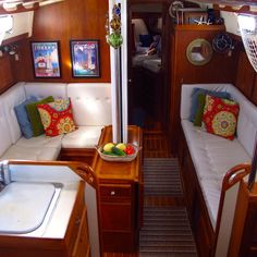 Excellent blog about a family living on their sailboat. This entry: Windtraveler: Making a Boat a Home: The Art of Decorating A Boat. Beautiful and functional interior.