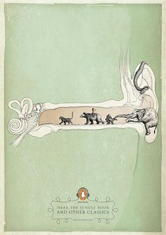 art illustrations, penguin classics, penguin books, jungl book, design books