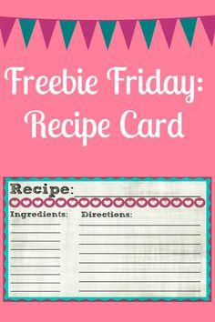 Freebie Friday: FREE recipe card! So cute!