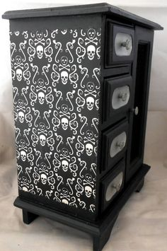 Gothic Curio Cabinet by NacreousAlchemy. Love the use of a wall paper or decoupage on the side.