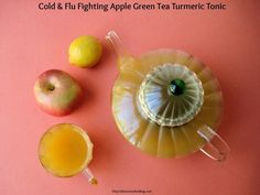 Try this absolutely delicious Cold & Flu Fighting Apple Green Tea Turmeric Tonic and stay healthy during cold and flu season!  #tea #tonics #recipes