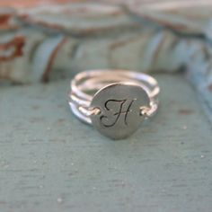 Hammered Sterling Silver Initial Disc Stacking Rings - Set of 3