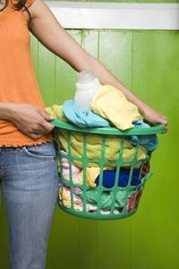 Use vinegar to keep colours from bleeding & fading in the wash. Great tip for preventing jeans fading (also wash them inside-out). Vinegar is also a fabric softener and removes detergent residue from clothing.