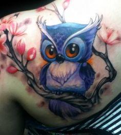Picasso Dular Tattoos - Tattoos.net  owl tattoo | bird tattoo | blue tattoo | nature tattoo | tattoo ideas | tattoo inspiration tattoo ideas, bird tattoos, picasso dular, nature tattoos, owl tattos, owl tattoos, colorful owl tattoo