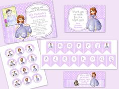 Sofia the First Princess Party Supplies - Printable Set  Invitation with banner, cupcake toppers, thank you card and treat baggie toppers by LalaHeaven