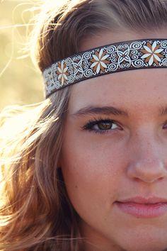 The Pinwheel Boho, Bohemian Headband, Indie, elastic closure, Ornate patterned detail. $10.00, via Etsy.