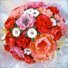 Peach and Pink  Paper Bouquet   by DragonflyExpression