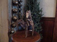 ~Primitive Santa riding Folk Art Reindeer ~bells~tree~