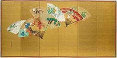 Birds, flowers and figures on scattered fans (2) Kamisaka SEKKA  (1866–1942)