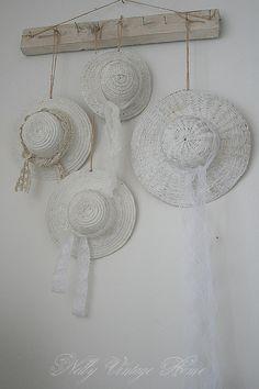 <3 Yummy vintage whites white decor romantic prairie farmhouse cottage style garden hats