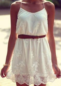 Comfy Spaghetti Strap Design White Dress for Summer
