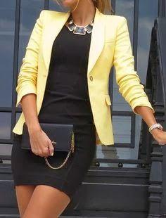 Office Fashion Trend - yellow blazer, black dress, statement necklace