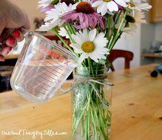 "How to make fresh flowers last longer.... ""recipe for this….  1 teaspoon sugar 1 teaspoon household bleach 2 teaspoons lemon (or lime) juice 1 quart of lukewarm water"