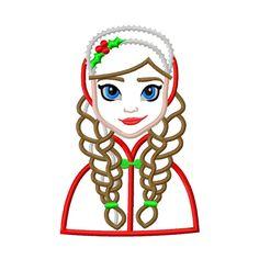 Frozen Christmas Snow Princess Applique by AppliqueCandy on Etsy