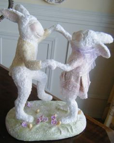 OOAK handsculpted rabbit collectible in paper clay, paper mache, painted and finished with glitter