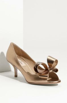 Absolute Beauty! Valentino Metallic Nappa Couture Bow Pump