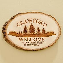 Pine Wood Log Sign
