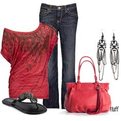 Love summer fashion, chic outfits, style, cloth, closet, casual outfits, black jeans, shoe, red black