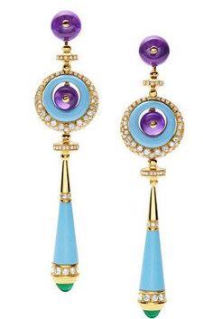 Purple and Turquoise Bulgari Earrings