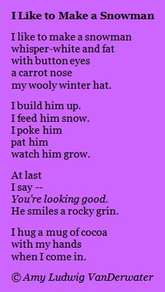 The Poem Farm: I Like To Make a Snowman - This story/how-to poem is from The Poem Farm, Amy Ludwig VanDerwater's ad-free, searchable blog full of hundreds of poems, poem mini lessons, and poetry ideas for home and classroom - www.poemfarm.amylv.com