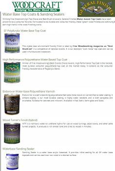 Woodcraft provides the best Water Based Top Coats & Sanding Sealers from General Finishes available on the market today.