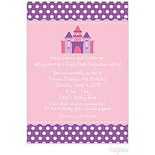 Pink and Purple Princess Castle Invitation with fun polka dots  From Little Angel Announcements