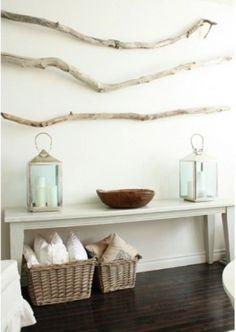 wall art, wall decor, stick, bench, driftwood art, white walls, beach houses, branch, entryway