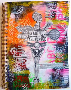 """Stamp Collage Art Journal Page by nikimaki, via Flickr -- using the Balzer Designs """"Circle Explosion"""" stencil"""