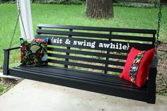 I LOVE this porch swing makeover! #swing #DIY #porch