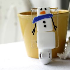 Fused Glass Nightlight - Snowman - white and blue