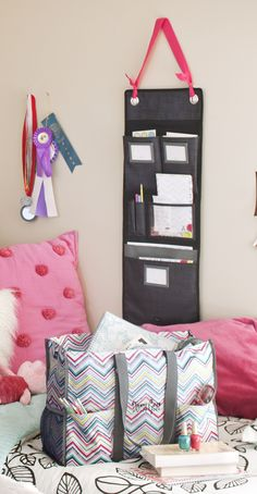 Cute way to hang room organizer