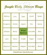 Jungle Baby Shower Bingo Game