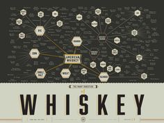 This incredibly detailed poster shows the origins and classifications of whiskeys from around the world.